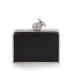 Floozie by Frost French - Black mock croc pineapple clutch bag