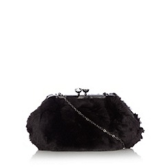 Debut - Black faux fur clutch bag