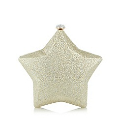 Debut - Light gold glitter star clutch bag