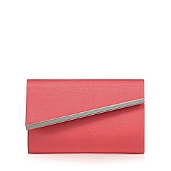 Debut - Bright pink grosgrain metal bar clutch bag