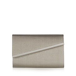 Debut - Grey grosgrain metal bar clutch bag