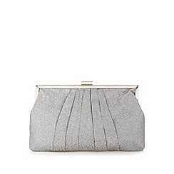 Debut - Silver pleated glitter clutch bag