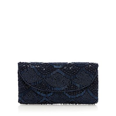 Debut Navy scalloped beaded purse