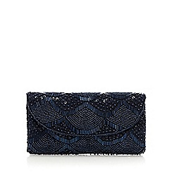 Debut - Navy scalloped beaded purse