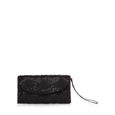 Debut Black beaded scallop wristlet bag
