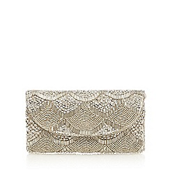 Debut - Silver beaded scallop wristlet bag