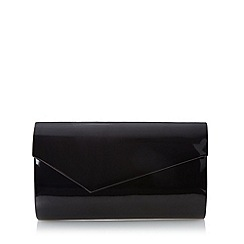 Debut - Black patent asymmetric flap over clutch bag