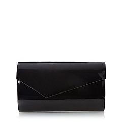 Debut - Black patent asymmetric flap over clutch bag