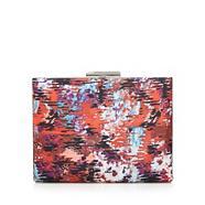Red watercolour print clutch bag