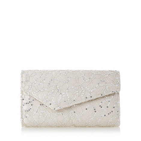 Debut - Ivory sequin lace clutch bag