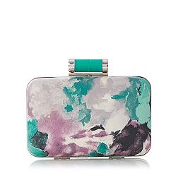 Green floral boxy clutch bag