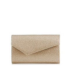 Debut - Gold asymmetric envelope clutch bag