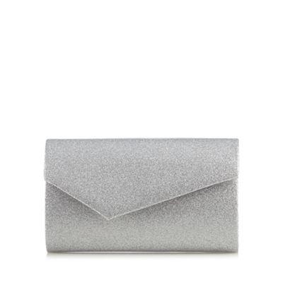 Debut Silver asymmetric envelope clutch bag