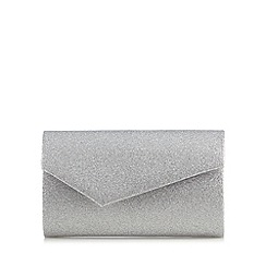 Debut - Silver asymmetric envelope clutch bag
