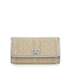 Debut - Natural metallic straw clutch