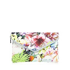 Debut - Pink floral fold over zip clutch bag