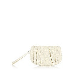 Debut - Cream beaded wrist purse