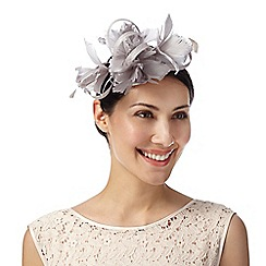 Debut - Pale grey looped feather detail fascinator