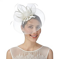 Debut - Ivory beaded flower mesh fascinator