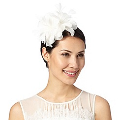 Floozie by Frost French - Ivory heart feather flower fascinator