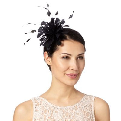 Debut Black curled feather fascinator - . -