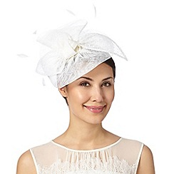 Debut - Ivory polka dot bow feather disc fascinator