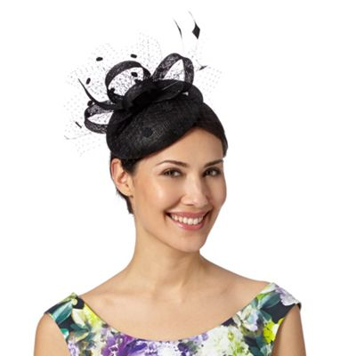 Debut Black daisy button fascinator - . -