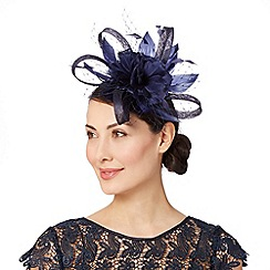 Debut - Navy loop and mesh detail flower fascinator