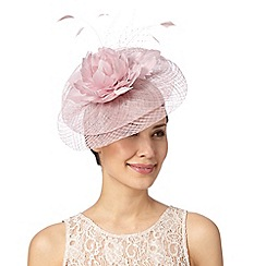 Debut - Pale pink lace and feather flower saucer fascinator