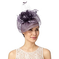 Debut - Mauve lace and feather flower saucer fascinator