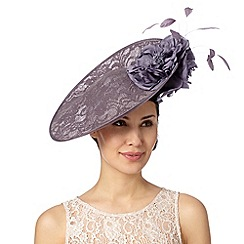 Debut - Mauve lace satin peony hat fascinator