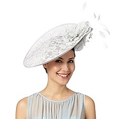 Debut - Pale grey lace satin peony hat fascinator