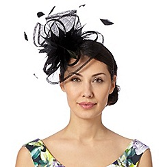 Debut - Black floral feather fascinator