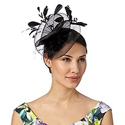 Debut - Black gathered mesh corsage fascinator