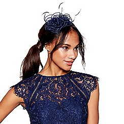 Debut - Navy floral feather fascinator
