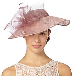 Hatbox - Pale pink curled mesh trim hat fascinator