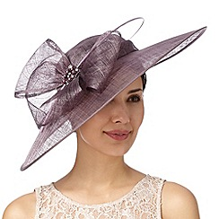 Hatbox - Mauve embellished bow down brim hat fascinator