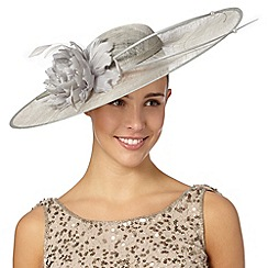 Hatbox - Grey double quill and corsage hat fascinator