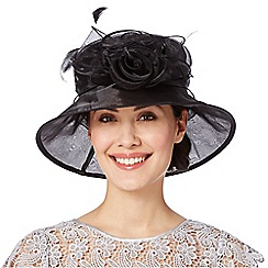 Hatbox - Black twisted rose trim organza hat