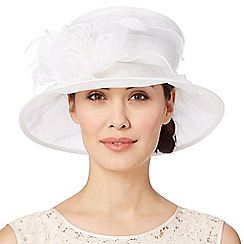 Hatbox - Ivory twisted rose trim organza hat