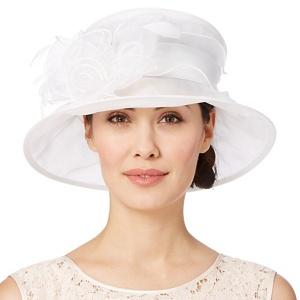 Hatbox Ivory Twisted Rose Trim Organza Hat