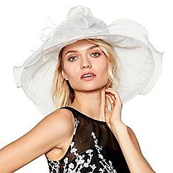 Hatbox - Ivory curled trim organza hat