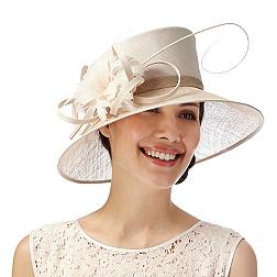 Light gold flower and quill asymmetric hat
