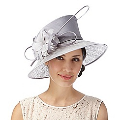 Hatbox - Silver flower and quill asymmetric hat