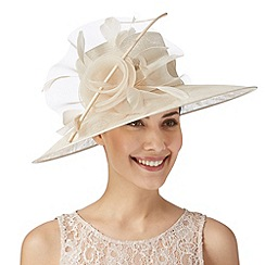 Hatbox - Light gold curled quill and rose hat