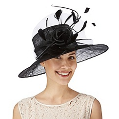 Hatbox - Black curled quill and rose hat