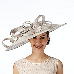 Hatbox - Pale grey oversized loop saucer fascinator