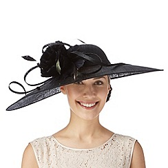 Hatbox - Black oversized peony flower saucer fascinator
