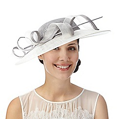 Hatbox - Grey twirl detail hat fascinator