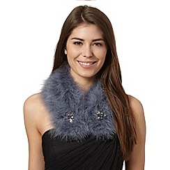 J by Jasper Conran - Designer grey embellished feather collar